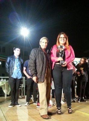 Roberto Merandino con la vincitrice Francesca Brunello