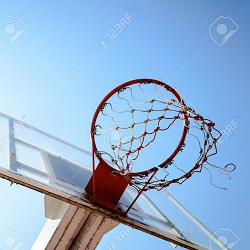 Basketball hoop in the blue sky
